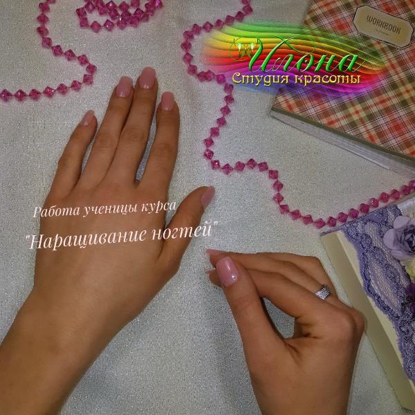 Самые первые работы с курса: Наращивание ногтей.
