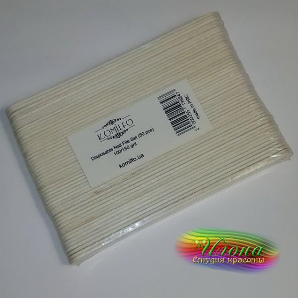 Пилочка на деревянной основе 100/150грит для маникюра и педикюра.